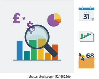 Financial accounting audit with magnifying glass, charts, different currencies, calendar, profit and loss statement and accounts icons vector illustration set