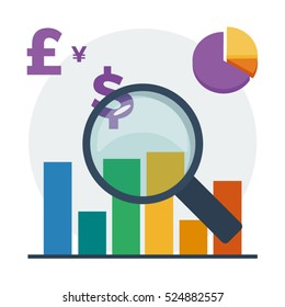 Financial accounting audit vector illustration with magnifying glass, charts, different currencies