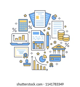 Financial accounting circle poster flat line icons. Bookkeeping brochure concept, tax optimization, firm accountant, loan, payroll, real estate crediting. Accountancy, finance signs legal services.