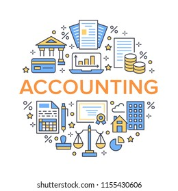 Financial accounting circle poster with flat line icons. Bookkeeping brochure concept, tax optimization, loan, payroll, real estate crediting. Accountancy, finance thin vector signs for legal services