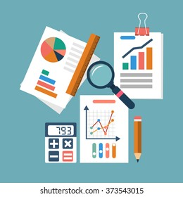 Financial accounting concept. organization process, analytics, research, budget planning, report, market analysis. Flat Style. Vector illustration