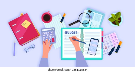 Financial accounting flat lay concept with hands managing and planning family budget. Personal monthly audit top view illustration with smartphone, workplace, folder. Budget planning background