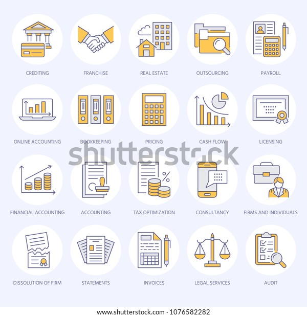 Financial Accounting Flat Line Icons Bookkeeping เวกเตอร์สต็