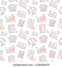 Financial accounting seamless pattern with flat line icons. Bookkeeping background, tax optimization, loan, payroll, real estate crediting. Accountancy, finance thin linear signs for legal services.