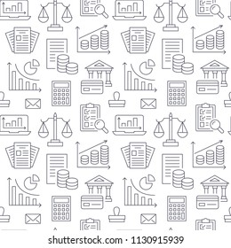 Financial accounting seamless pattern with flat line icons. Bookkeeping background, tax optimization, loan, invoice, real estate crediting. Accountancy, finance thin linear signs for legal services.
