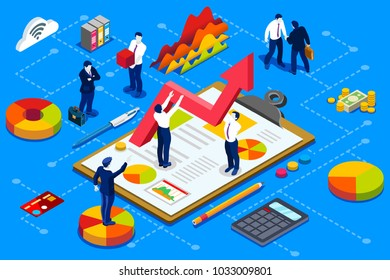 Financial administration concept. Financial company account with documents. Isometric vector design.