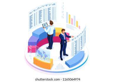 Konzept der Finanzverwaltung. Beratung für die Leistung des Unternehmens, Analysemethode. Statistik und Geschäftsbericht. Flat isometrische Infografiken für Banner- oder Business-Heldenbilder.