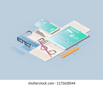 Financial administration concept. Isometric vector illustration isolated on blue background.