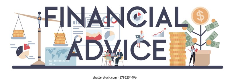 Financial advice typographic header. Business character making financial operation. Budget analysis, financial consultant, counseling. Isolated flat vector illustration