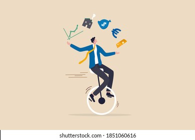 Financial advisor, professional investment expertise concept, smart businessman investor juggling finance asset, real estate, currency, gold, saving and stock market graph riding unicycle one wheel.