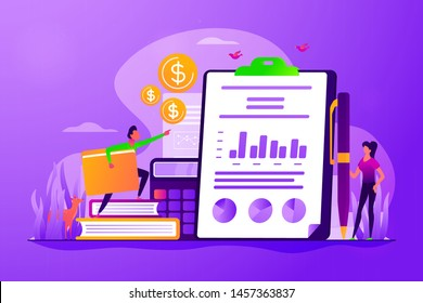 Financial analysis, business plan. Profit and loss report. Cash flow statement. Income statement, company financial statement, balance sheet concept. Vector isolated concept creative illustration