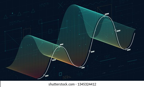 Financial analysis of complex databases, technology concept wave big data threads, abstract finance background for financial presentation