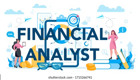 Financial analyst or consultant typographic header concept. Business character making financial operation. Market analysis, financial assessment, monetry assets. Isolated flat vector illustration