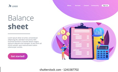 Financial analysts doing income statement with calculator and laptop. Income statement, company financial statement, balance sheet concept. Website vibrant violet landing web page template.