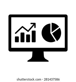 Financial analytic chart graphs on computer monitor flat vector icon for apps and websites