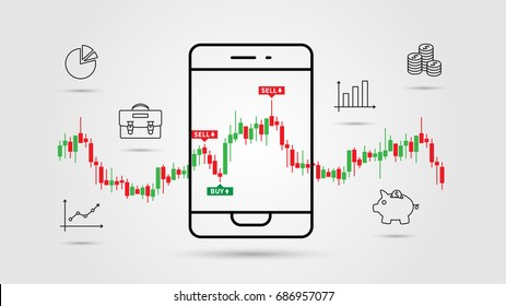 Financial analytics app vector illustration. Mobile app for investment and online trade line art concept. Buy and sell indicators on the candle bar chart graphic design.