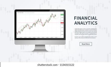Financial analytics chart vector banner. Financial statistic data for stock trade on desktop computer graphic design. Stock market index (financial analytics) concept.