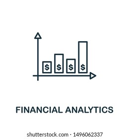Financial Analytics outline icon. Thin line concept element from fintech technology icons collection. Creative Financial Analytics icon for mobile apps and web usage.