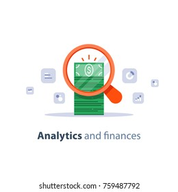 Financial analytics service, business planning, market research, fund management, sales improvement, return on investment, revenue increase, accounting inquiry, income and expenses, vector flat icon