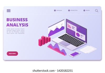 Financial analytics vector page template. Business statistics charts, diagrams. Illustration of business diagram page, monitoring analysis, visualization data isometric