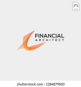 financial architecture logo template line vector illustration icon element