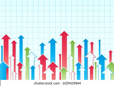 Financial Arrow Graph. Vector business graph with arrow showing profits and gains.