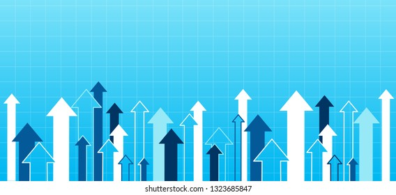 Financial Arrow Graphs going up on a blue background