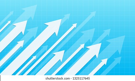 Financial arrow graphs on a blue background