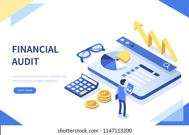 Financial audit business concept with character. Can use for web banner, infographics, hero images.  Flat isometric vector illustration isolated on white background.