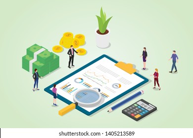 financial audit concept with business graph finance report with team people with magnifying glass analysis - vector