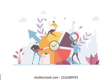 Financial Auditing Vector Illustration Concept Showing a group of accountant performing company financial evaluation, Suitable for landing page, ui, web, App intro card, editorial, flyer, and banner.