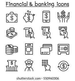 Financial & banking icon set in thin line style