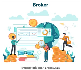 Financial broker. Income, investment and saving concept. Business character making financial operation. Isolated vector illustration