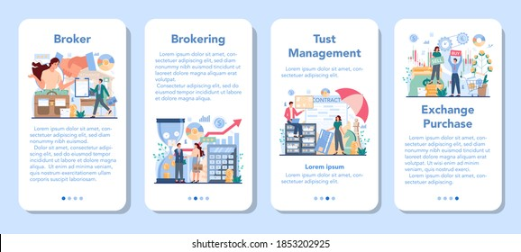 Financial broker mobile application banner set. Income, investment and saving. Customer support and trust management. Business character making financial operation. Isolated vector illustration