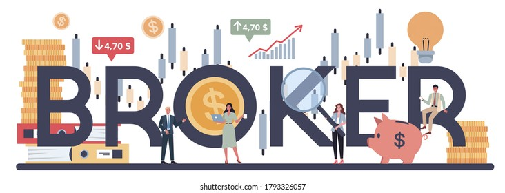 Financial broker typographic header concept. Income, investment and saving concept. Business character making financial operation. Isolated vector illustration