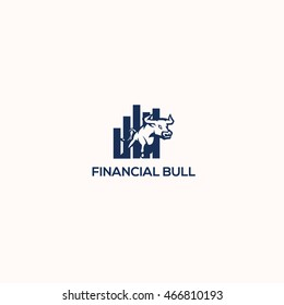 Financial bull logo design, currency, animal, finance, exchange market vector