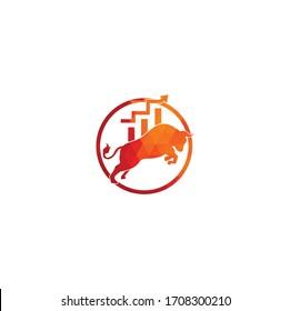Financial bull logo design. Trade Bull Chart, finance logo. Economy finance chart bar business productivity logo icon.