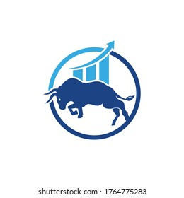 Financial bull logo design. Trade Bull Chart, finance logo. Economy finance chart bar business productivity logo icon.