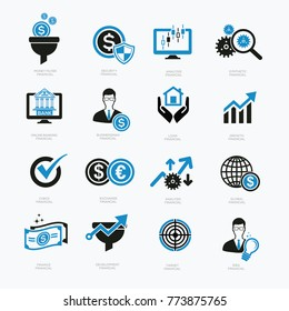 Financial and business icon set,vector