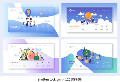 Financial Business Innovation Ideas Landing Page Set. Creative Money Growth Concept. Online Banking Investment Success for Website or Web Page. Flat Character Vector Illustration