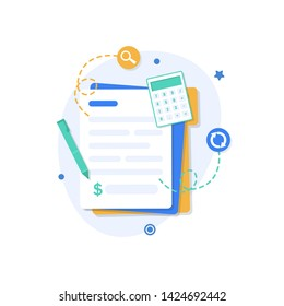 Financial or business operations icon. Payment time concept,calculator, calendar