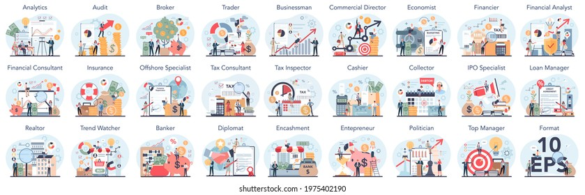 Financial or business profession set. Business character making financial operations and developing. Audit, insurance, financial consultant and analyst. Vector illustration