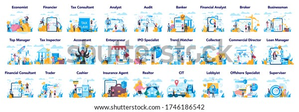 Financial or business profession set. Business character making financial operation. Economist, financier, broker, accountant, trader, ttax inspector, commercial direrctor. Vector illustration