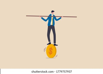 Financial and business risk, banking loan and debt risk, stability or balance of economics and investment or risk for losing job concept, businessman balancing not to fail from walking on golden coin.