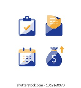 Financial calendar, annual revenue, long term value investment and return, time period, high interest rate, monthly loan payment plan installment, tuition grant application, vector icon
