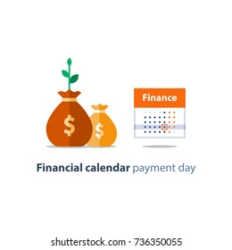 Financial calendar illustration, budget plan, payment bay, finance planner, monthly installment, time period, annual money income, calendar date, vector icon