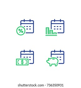 Financial calendar line icon, monthly payment outline symbol, annual income concept, piggy bank saving account, money return, asset allocation, long term investment pension fund, superannuation vector