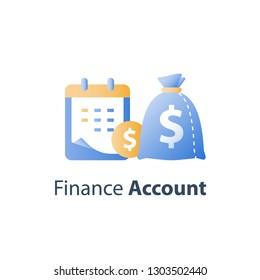 Financial calendar, payment period, vector icon