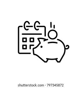 Financial calendar, piggy bank icon vectorvector