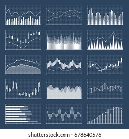 Financial candle stick graphs. Currency business and market charts vector set. Finance investment growth diagram information illustration